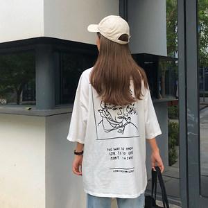 5884#韩版后背艺术感印花女纯棉宽松中袖中长款teeT恤  两色入