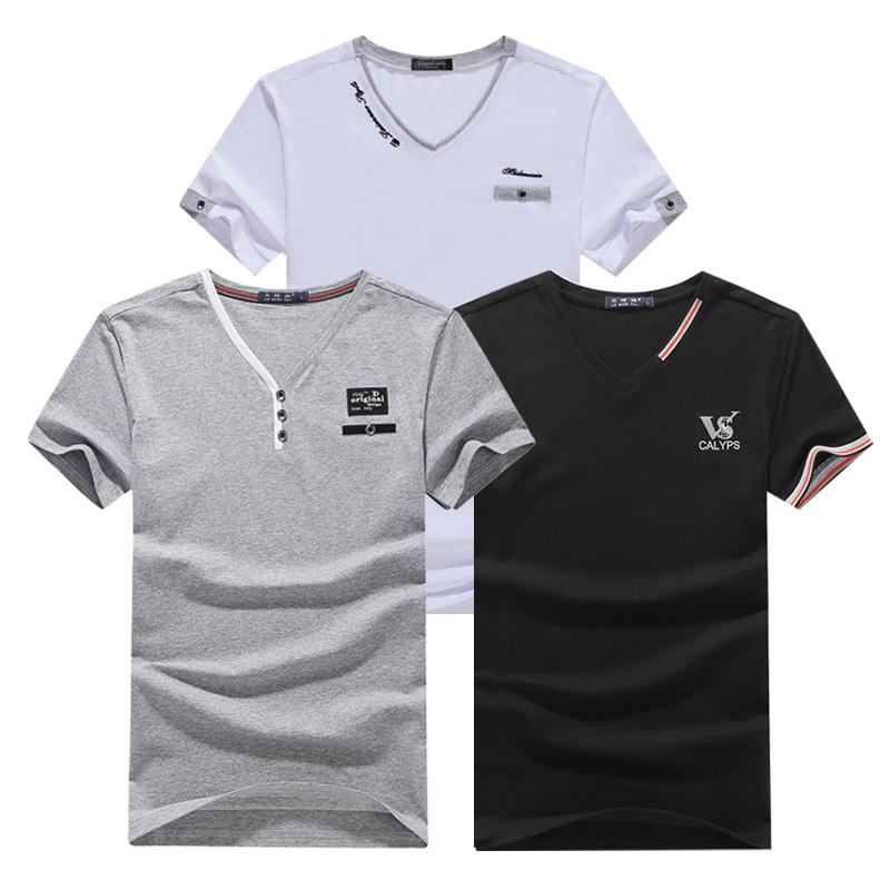 青年男士夏季潮男韩版修身短袖全棉V领纯棉男装时尚潮流上衣T恤