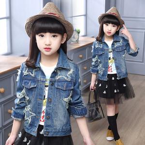 宅时尚2017春装新款牛仔外套 韩版时尚学院风星星贴布中性童装