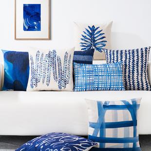 地中海蓝色简约棉麻抱枕靠垫靠枕