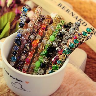 韩国日发饰品复古欧美风彩色钻水晶发箍头箍发夹发卡套装女