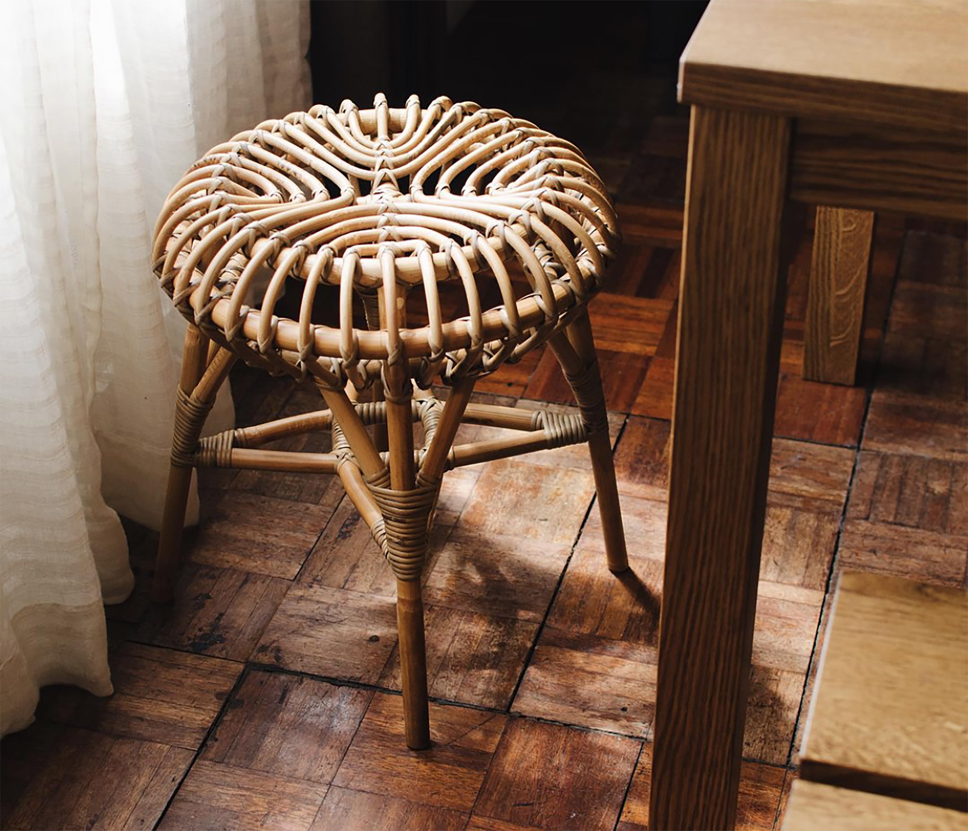 久伴INS北欧藤编凳餐厅客厅民宿咖啡馆茶几凳子换鞋凳餐桌椅凳子_图2