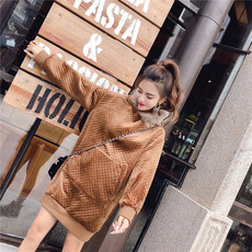 6985实拍韩版毛领连帽丝绒加厚保暖套头宽松中长款卫衣连衣裙
