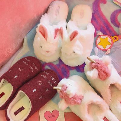 秋冬季新款可爱毛绒立体萌兔子拖鞋室内少女学生卡通保暖居家拖鞋