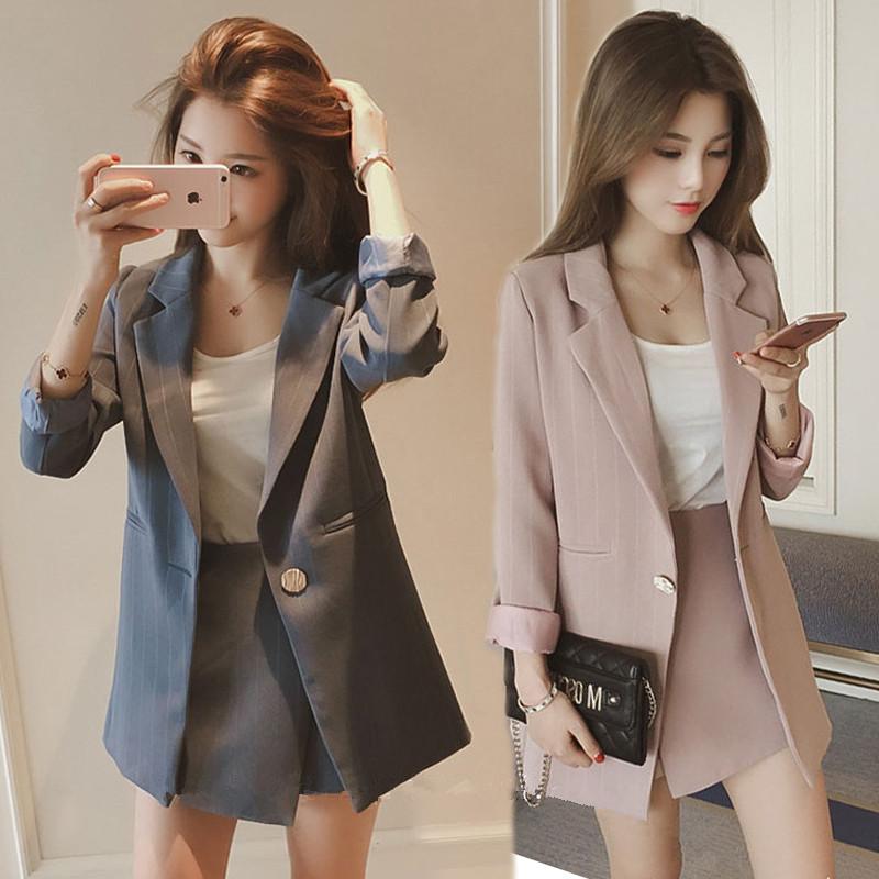 2019新款女装春装韩版百搭时髦套装潮名媛小香短裙西装外套三件套