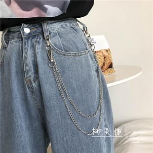 欧美朋克风时尚ins饰品男女潮流嘻哈金属牛仔裤链条简约装饰好看