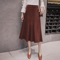 实拍女装韩版复古高腰针织半身裙中长款显瘦A字裙大摆裙学生长裙
