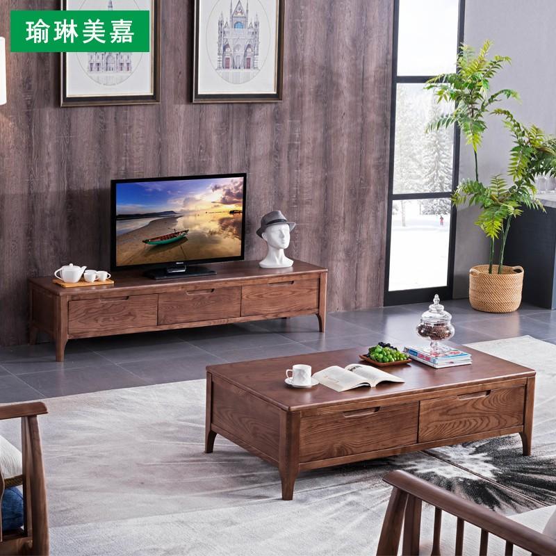 Tất cả các bàn cà phê gỗ rắn tủ TV với ngăn kéo Bắc Âu căn hộ hiện đại đơn giản mới kết hợp nội thất phòng khách Trung Quốc - Bộ đồ nội thất