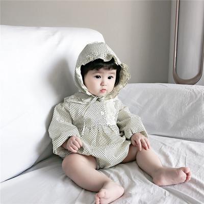 ins爆款秋季婴幼童长袖哈衣花边小圆点纯棉连体衣爬服包屁哈衣