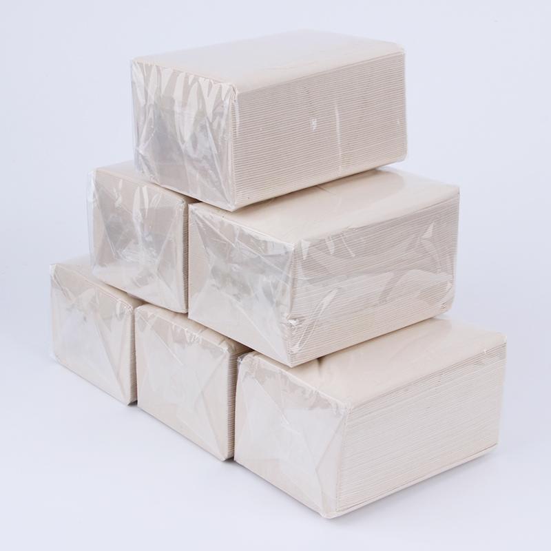 原生竹浆本色6小包抽纸3层餐厅面巾家用便捷抽取式简装厕所卫生纸