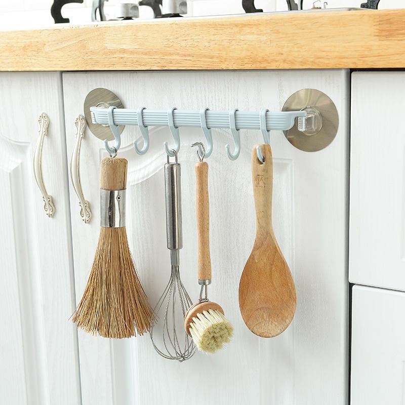 强力粘胶挂钩厨房壁挂6连排钩 创意浴室免钉无痕挂架挂衣钩