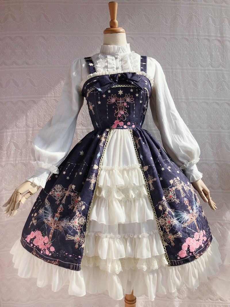 Home Glory Of King Daji Cosplay Costume Blue Lolita Bublle Dress Rabbit Ears Fox Tail Maid Suit A