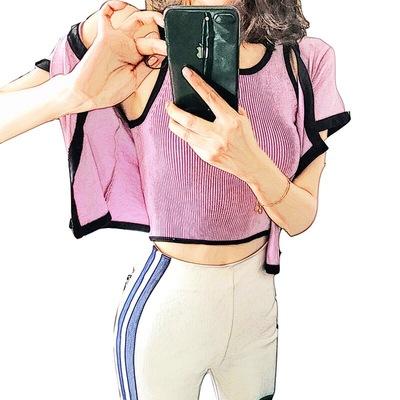 Lin  别致小众款休闲百搭显瘦紫粉两件套毛衫透气背心