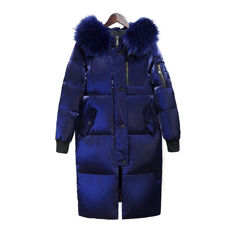 Chống giải phóng mặt bằng đặc biệt cung cấp xuống áo khoác nữ phần dài 2018 mới của Hàn Quốc phiên bản của lỏng dày lớn cổ áo lông thú áo khoác nữ triều