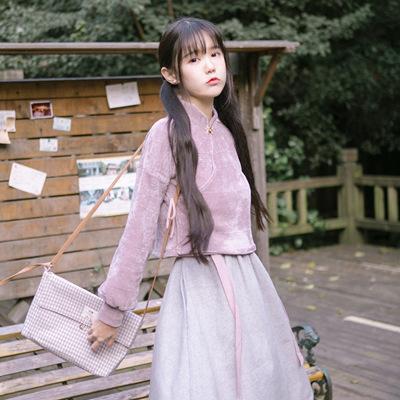 川黛 - 金陵学院 粉灰 原创设计 民国少女 立领上衣背心裙两件套