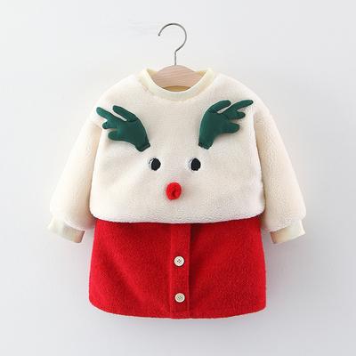 女宝宝秋冬装套装婴幼儿童衣服01-2-3岁小童加厚加绒上衣+裙2件套