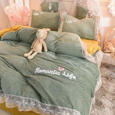 韩式公主风蕾丝魔法绒保暖四件套冬季少女心水晶绒珊瑚绒被套床单
