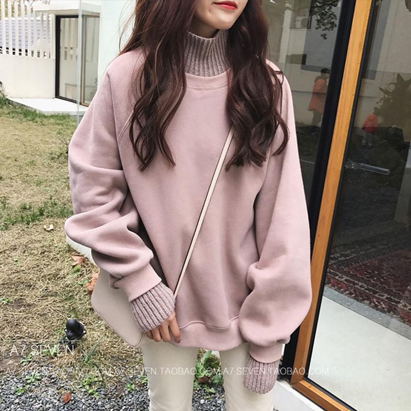 女2018新款韩版宽松学生假两件高领加厚长袖卫衣套头加绒上衣7