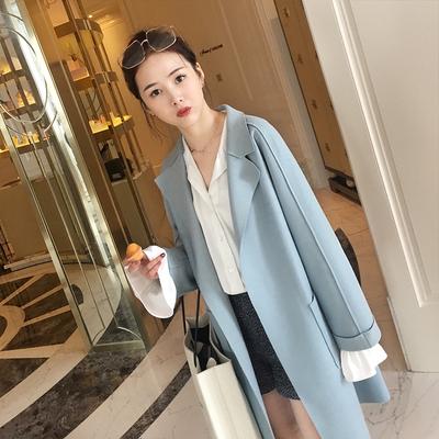 2018 mùa xuân và mùa thu mới của Hàn Quốc phiên bản của ve áo trong đoạn dài trên đầu gối áo len chic tính Sen eo áo khoác nữ