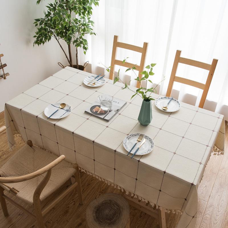 韩式小清新布艺桌布田园大方格棉麻简约长方形圆餐桌布茶几盖巾