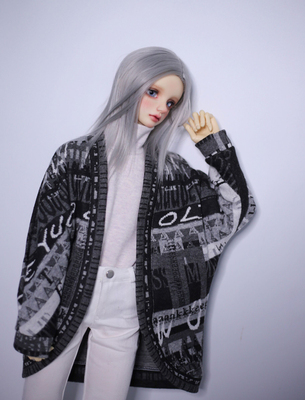 taobao agent ◆Bears◆BJD baby clothes A260 black and gray patterned arc hem bat cardigan 1/4&1/3&Uncle
