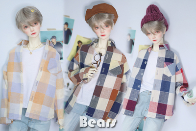 taobao agent ◆Bears◆BJD baby clothes A331 Casual plaid cotton and linen shirt 3 colors 1/4&1/3&Uncle
