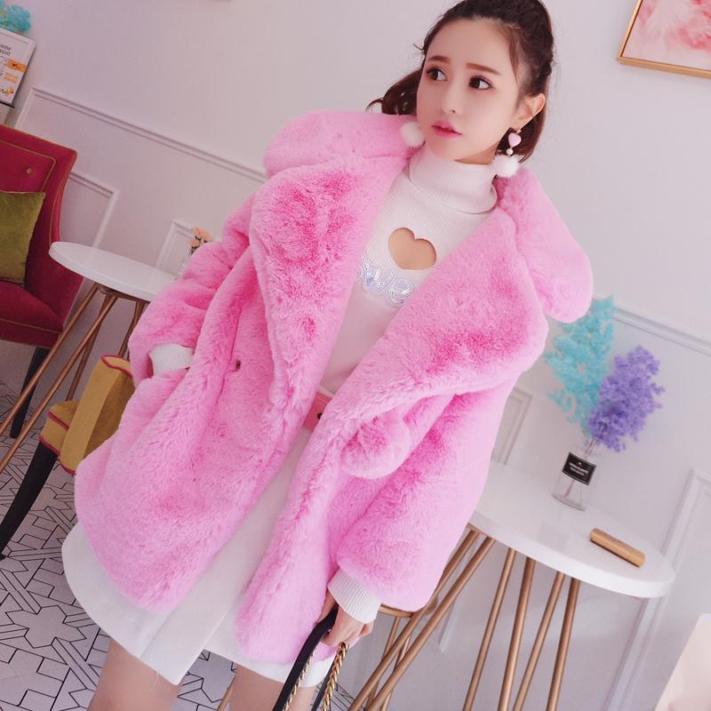 Mùa đông ngọt ngào hồng 2017 mới ve áo nhỏ dài tay thời trang giản dị ấm giả lông thú áo khoác nữ