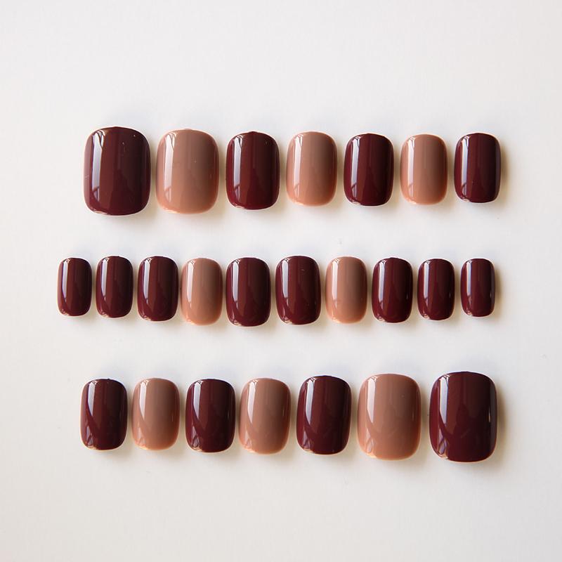 假指甲贴片咖啡深红色软妹美甲贴短款韩国纯色简约少女系甲片成品