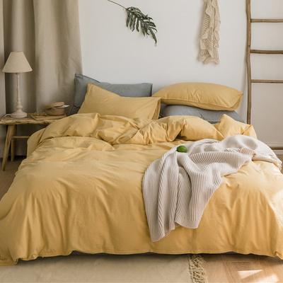 罗芙缦日式简约水洗棉素色四件套全棉超柔被套春纯棉简约床上用品