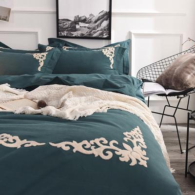 秋冬保暖纯棉被套4件套毛巾绣花床单美式床上用品纯棉磨毛四件套