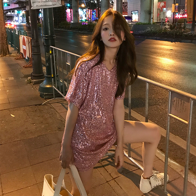 Lin Shanshan online celebrity T-shirt coat half-body skirt fashion suit two-piece sequin disco fashion suit