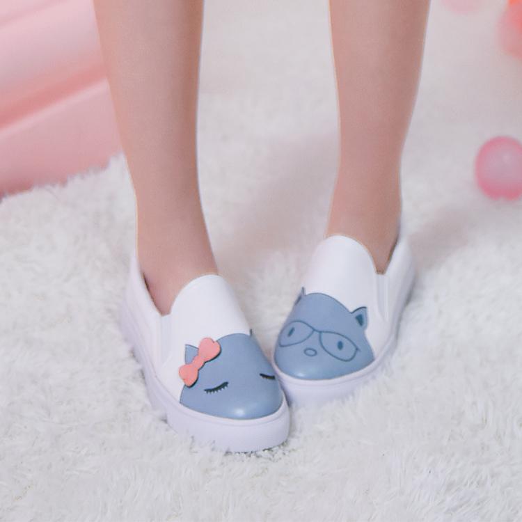 Giày nữ họa tiết hình nơ họa tiết mặt mèo kiểu dáng dễ thương