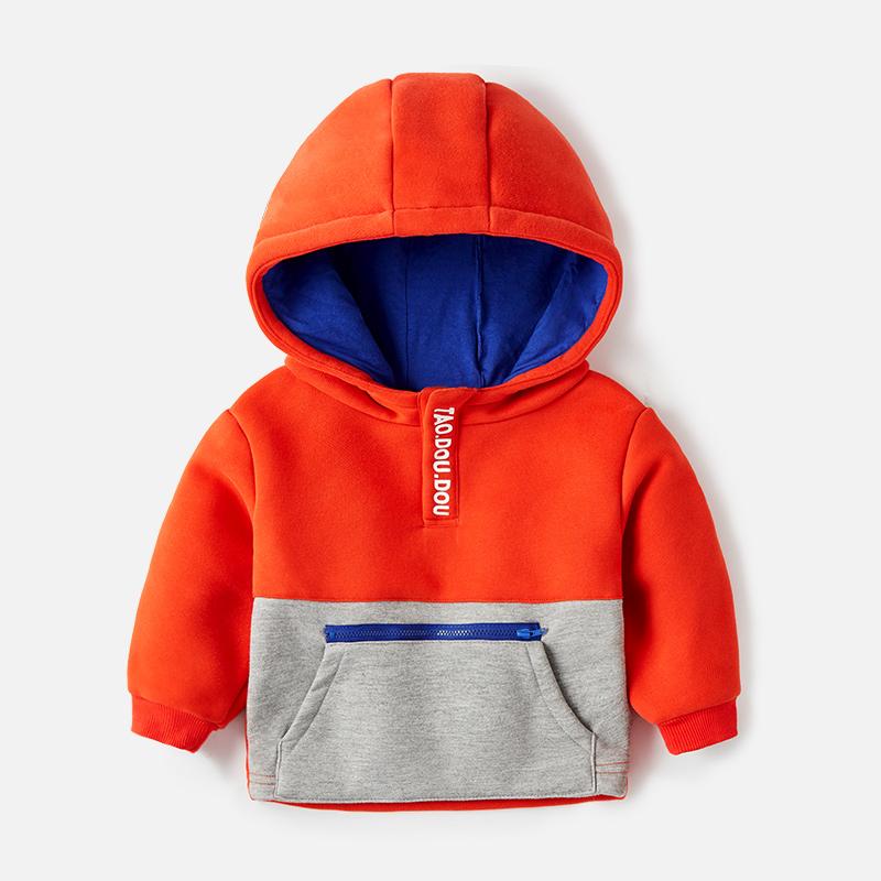 男童戴帽卫衣加绒新款男小童双层保暖外穿秋冬男宝上衣冬季潮