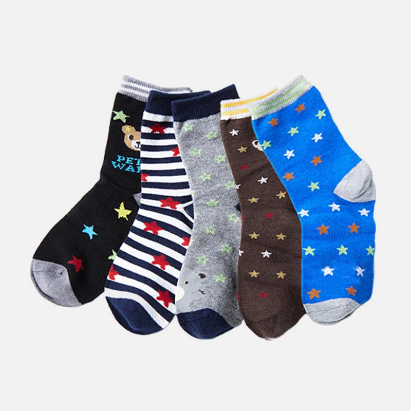 儿童袜子冬天 男童棉袜小童卡通中筒袜秋冬童袜宝宝五双装礼盒袜