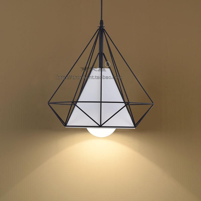 铁艺钻石吊灯复古吊灯工业风仓库田园单头黑色铁艺个性网状灯
