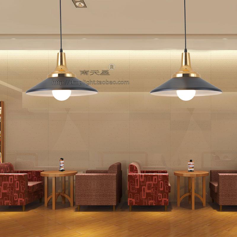 北欧丹麦铝材吊灯饭厅工业风铁艺锅盖简约黑白餐厅灯单头半圆吊灯