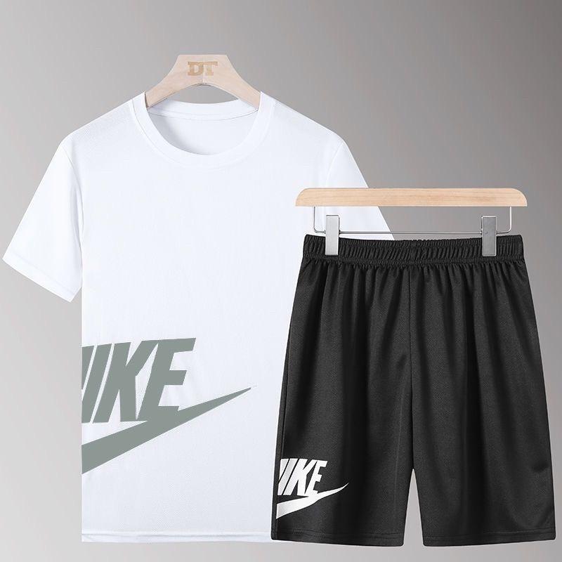 夏季新款跑步运动服透气男夏健身速干运动短袖五分短裤运动套装男