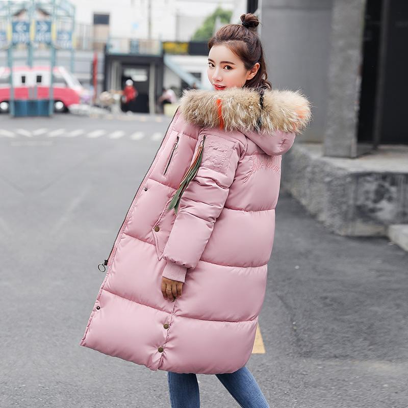Chống mùa giải phóng mặt bằng 2018 mới Hàn Quốc phiên bản của phần dài của áo khoác bông dày nữ sinh viên lỏng lẻo bf xuống bông pad bông áo khoác