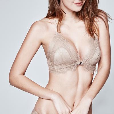 好奇小姐性感法式内衣女无钢圈薄款胸垫小胸罩前扣美背蕾丝文胸