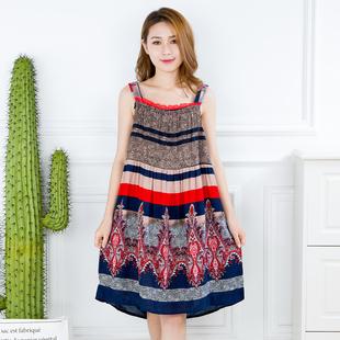 夏季宽松型纯棉女士吊带睡裙