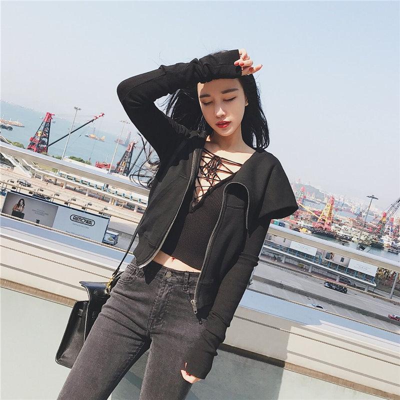 春季新款韩版修身显瘦短款长袖卫衣女开衫连帽学生外套上衣