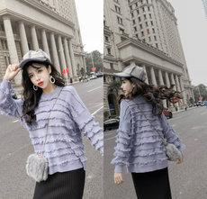 7479#实拍实价2018秋冬新款女中长时尚流苏拼接宽松羊绒针织毛衣