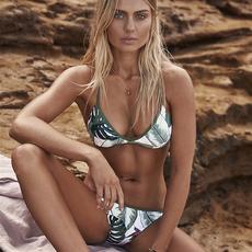 8989#欧美外贸新款亚马逊ebay女士分体比基尼bikini 树叶三角泳衣