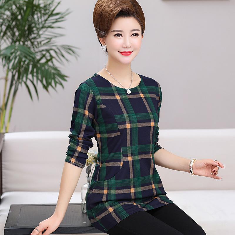 Phần mỏng mùa xuân và mùa thu mặc đáy áo phụ nữ trung niên của quần áo dài tay dài t-shirt trung niên mẹ mùa thu áo khoác