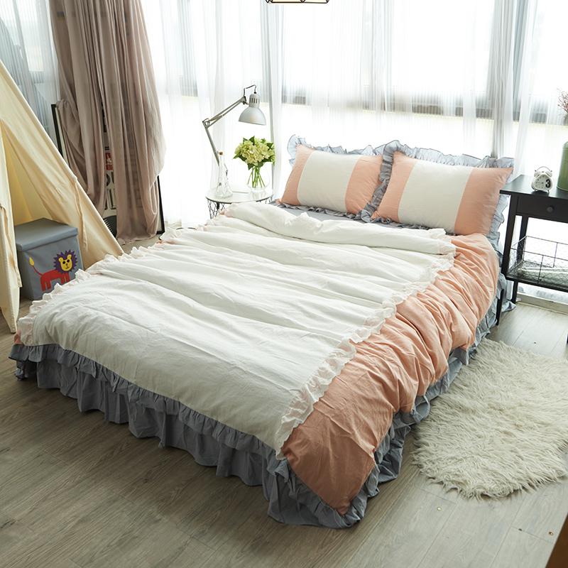 韩国水洗棉四件套床裙花边公主出口简约日系全纯棉床上用品