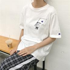 T043 实拍 潮牌可爱小狗卡通刺绣印花图案白色短袖T恤 复古女
