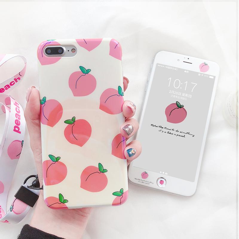 水蜜桃苹果7plus/8p手机壳苹果xs max硅胶软壳iPhone6splus包边壳