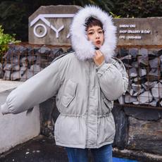 实拍~小视频韩版连帽大毛领收腰羽绒棉衣外套女宽松面包服小棉袄