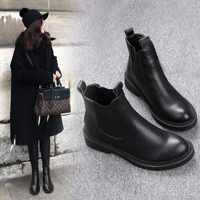 秋冬加绒平底短靴单靴平跟马丁靴