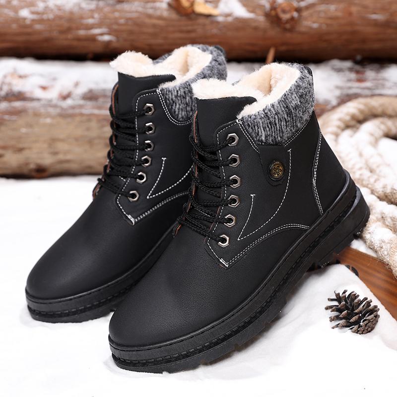 新款棉鞋冬季男士雪地靴男韩版运动休闲加绒户外帅气个性高帮男鞋